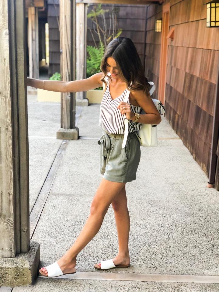 Olive Paperbag Shorts-55