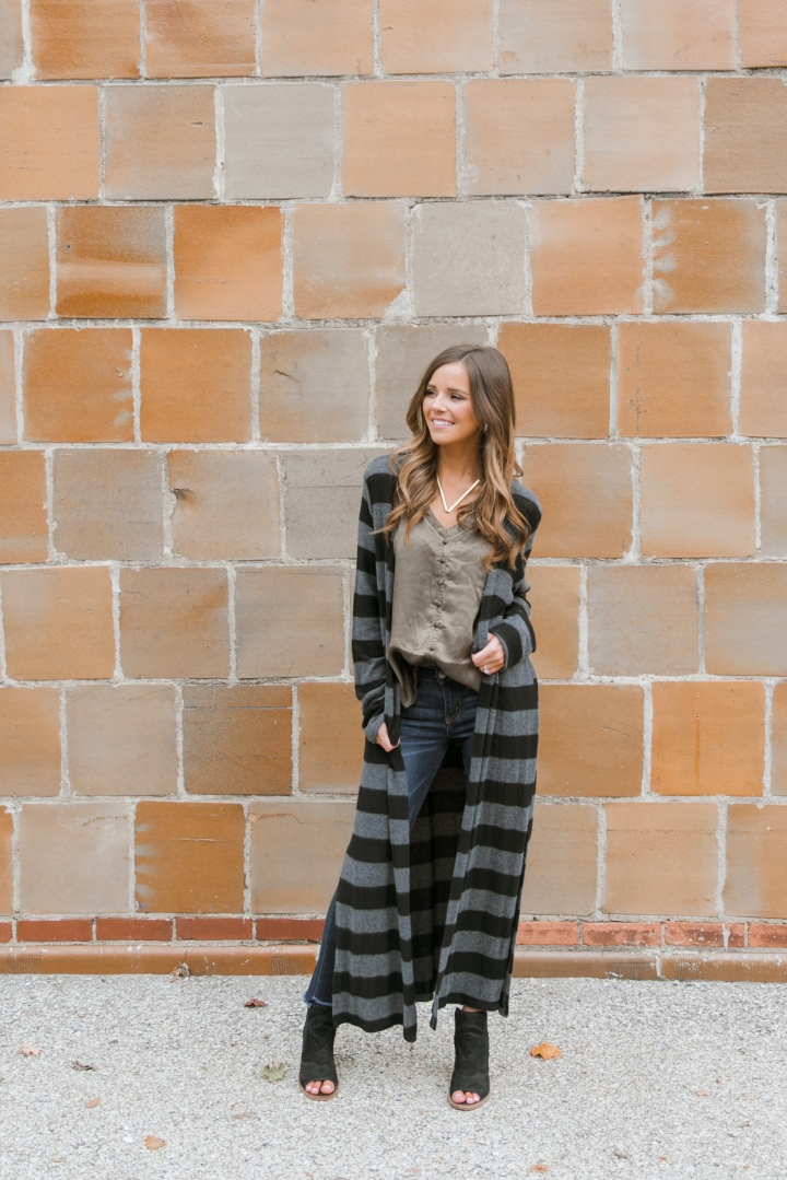 Striped Cardigan & Olive Cami with Blooms & LinenBoutique